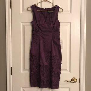 Adrianna Papell Purple Dress w/ Floral Bottom